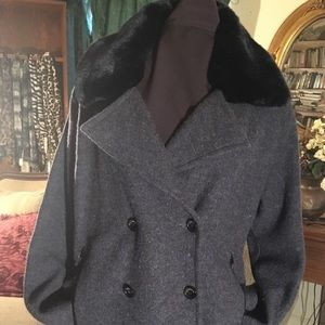 Jones NY Charcoal Double Breasted Pea Coat FLAW